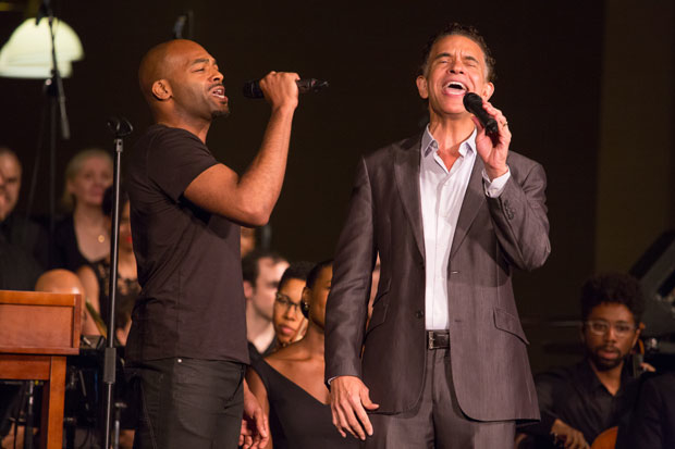 Brandon Victor Dixon, left, and Brian Stokes Mitchell during the concert reading of Ragtime at the Registry Room on Ellis Island in 2016.