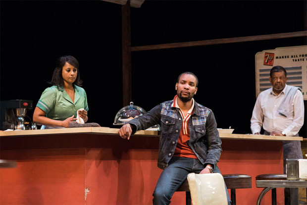 Nicole Lewis (Risa), Carlton Byrd (Sterling), and Eugene Lee (Memphis) in the Seattle Repertory production of Two Trains Running, coming to Arena Stage this spring.