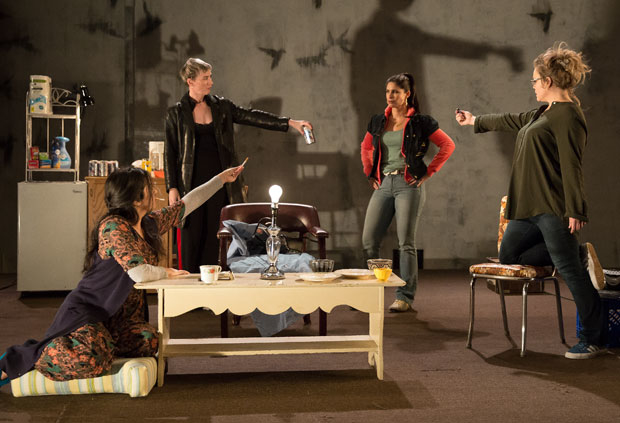 Nadine Malouf, Jessica Love, Nicole Villamil, and Ana Reeder in a scene from queens, directed by Dayna Taymor, at Lincoln Center's Clair Tow Theater.