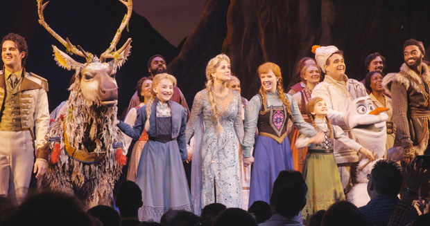 The cast of Frozen takes a bow at curtain call.