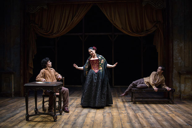 Bradley James Tejeda, Elizabeth Ramos, and Zachary Infante star in The Bridge of San Luis Rey, directed by Ken Rus Schmoll, at Two River Theater.