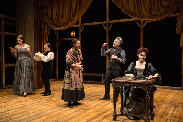 Madeline Wise, Steven Rattazzi, Sumaya Bouhbal, David Greenspan, and Mary Lou Rosato in a scene from The Bridge of San Luis Rey.