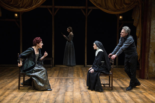 Mary Lou Rosato, Madeline Wise, Julienne Hanzelka Kim, and David Greenspan in a scene from The Bridge of San Luis Rey.