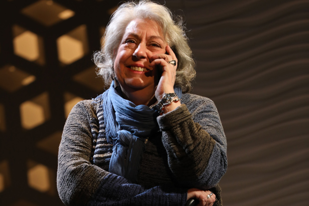 Jayne Houdyshell plays Theresa Hanneck in Relevance at the Lucille Lortel Theatre.
