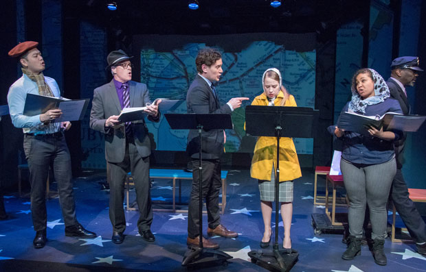 Karl Josef Co, David Engel, Eric William Morris, Alyse Alan Louis, Kathryn McCreary, and Gerry McIntrye star in Subways Are for Sleeping at York Theatre Company.