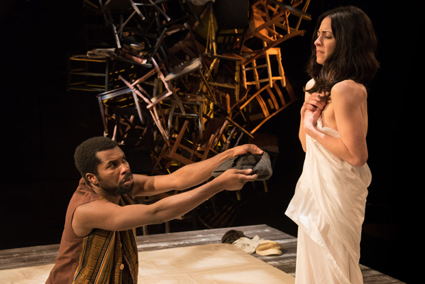 Michael Ofori and Eve Kagan in a scene from Statements After an Arrest Under the Immorality Act.