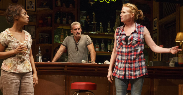 James Colby (center) with Michelle Wilson and Johanna Day in Lynn Nottage's Sweat, directed by Kate Whoriskey.