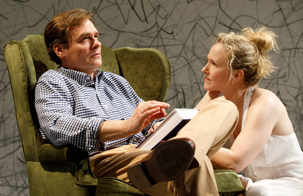 Robert Sean Leonard and Katie Finneran star in the Signature Theatre production of Edward Albee's At Home at the Zoo, which has just been extended through March 25.