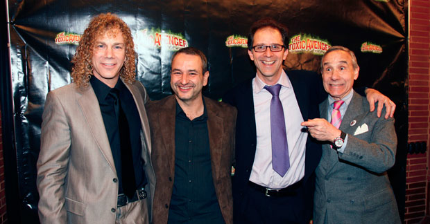 The Toxic Avenger creators David Bryan and Joe DiPietro stand alongside John Rando, director of the off-Broadway production in 2009, and Lloyd Kaufman, director of the original 1985 film. BroadwayHD recently announced that it acquired the musical for on-demand streaming.