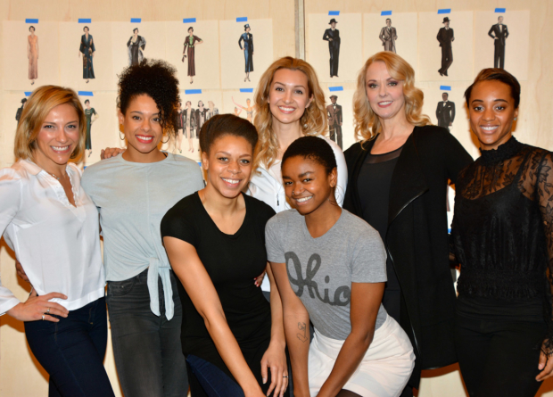 The female ensemble of The Sting: Erica Mansfield, Keely Beirne, Diana Vaden. Lara Seibert Young, Christine Shepard, Angie Schworer, and Sherisse Springer.