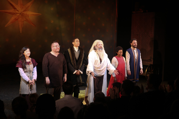 The cast of The Amateurs takes opening night curtain call.