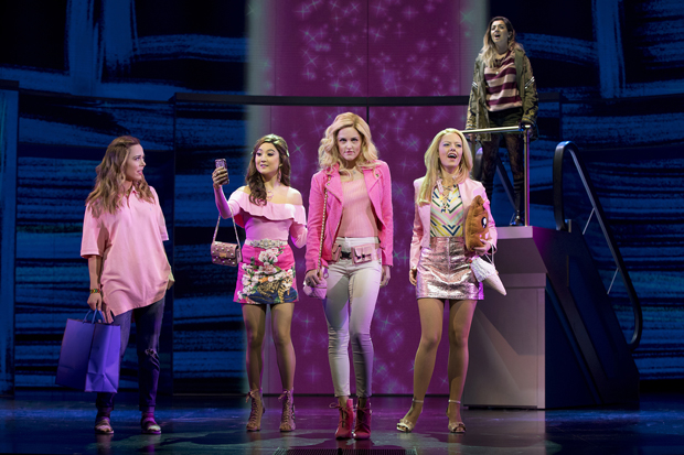 Erika Henningsen, Ashley Park, Taylor Louderman, Kate Rockwell, and Barrett Wilbert Weed star in Mean Girls, directed by Casey Nicholaw, at Broadway's August Wilson Theatre.