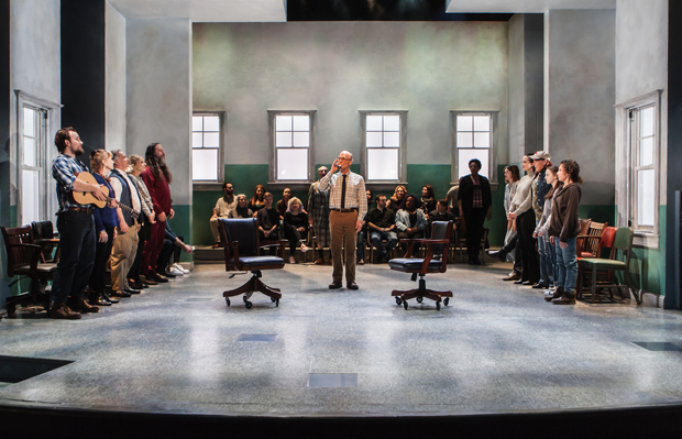 Ed Harris (center) leads the cast of David Rabe's Good for Otto, directed by Scott Elliott, for the New Group at the Pershing Square Signature Center.