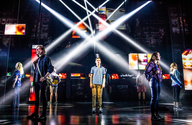 Taylor Trensch (center) leads the cast of Dear Evan Hansen, directed by Michael Greif, at Broadway's Music Box Theatre.
