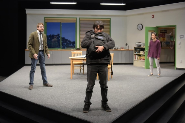 Jeremy Kahn (David), Daniel Chung (Dennis), and Jackie Chung (Gina) in Julia Cho's Office Hour, directed by Lisa Peterson, at Berkeley Repertory Theatre.
