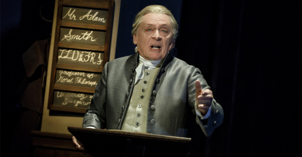 Daniel Davis as Adam Smith in Bruce Norris's The Low Road at the Public Theater.