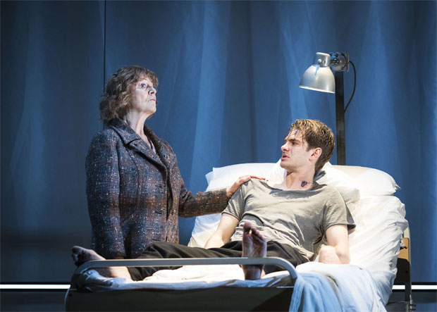 Susan Brown and Andrew Garfield in the National Theatre production of Angels in America, now on Broadway.