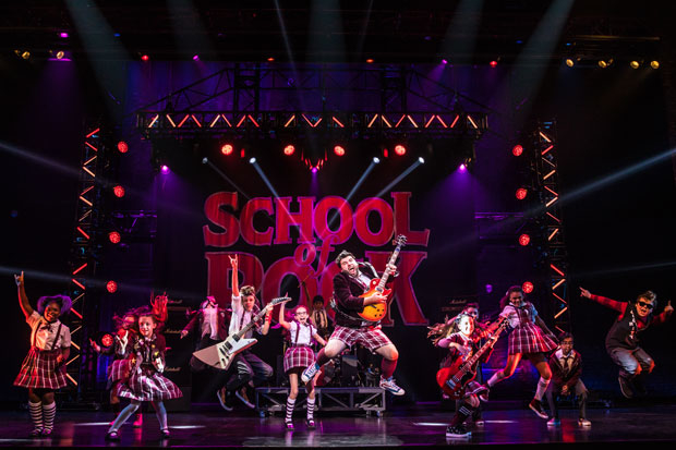 The cast of the School of Rock tour in action.