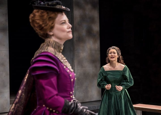 Kellie Overbey as Queen Elizabeth I and K.K. Moggie as Mary, Queen of Scots, in a scene from Mary Stuart, directed by Jenn Thompson, at Chicago Shakespeare Theater.