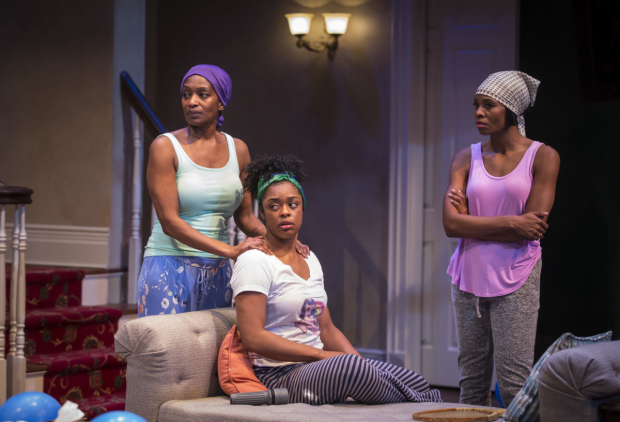 Lily Mojekwu, Ericka Ratcliff, and Tamberla Perry in a scene from Plantation!, directed by David Schwimmer, at Lookingglass Theatre.