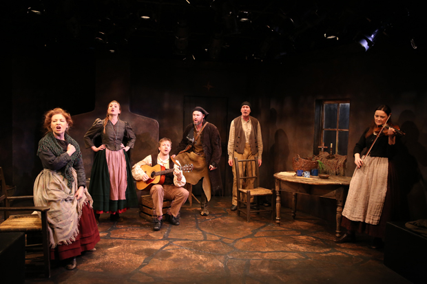Terry Donnelly, Clare O'Malley, Adam Petherbridge, David O'Hara, Colin Lane, and Jennifer McVey star in Three Small Irish Masterpieces, directed by Charlotte Moore, at Irish Repertory Theatre.