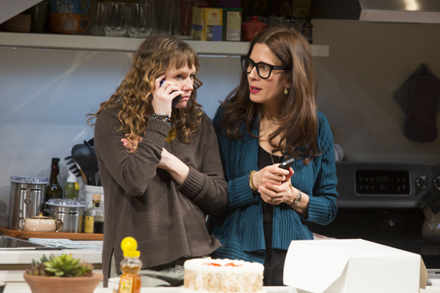 Sally Murphy plays Ginnie, and Jessica Hecht plays Sherri in Admissions.
