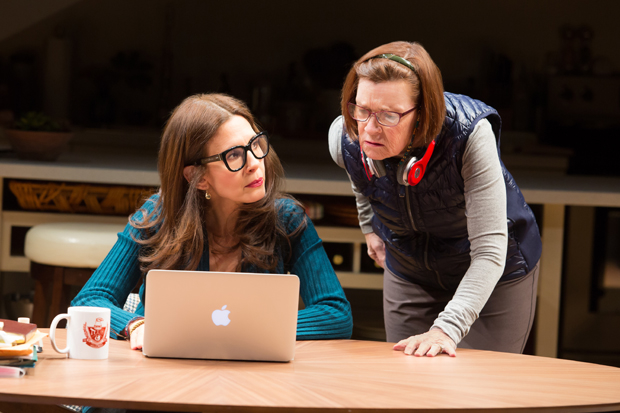Jessica Hecht plays Sherri, and Ann McDonough plays Roberta in Joshua Harmon's Admissions, directed by Daniel Aukin, at Lincoln Center Theater's Mitzi E. Newhouse Theater.