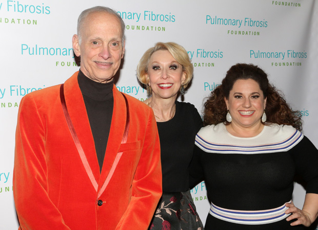Julie Halston poses with Hairspray film director John Waters and Tony-winning Broadway leading lady Marissa Jaret Winokur.