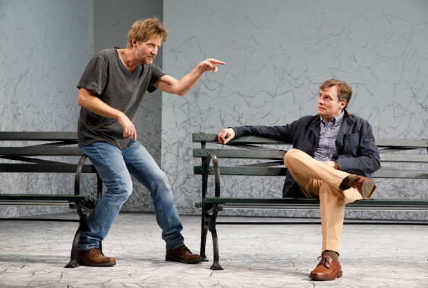 Paul Sparks and Robert Sean Leonard in Signature Theatre's production of Edward Albee's At Home at the Zoo.
