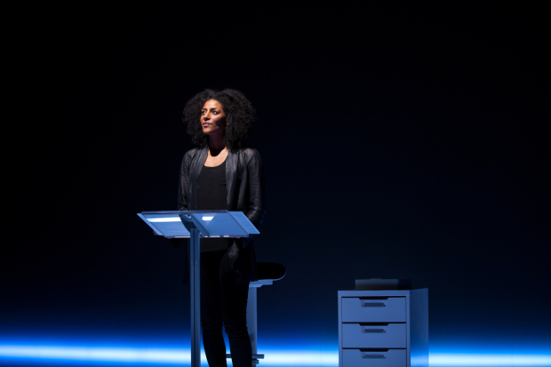 Sarah Jones stars in Sell/Buy/Date, directed by Carolyn Cantor, at the Geffen Playhouse.