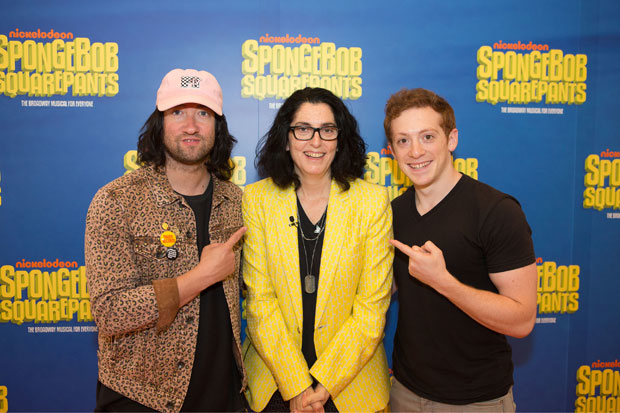 Director Tina Landau (center) with her SpongeBob SquarePants star Ethan Slater and Plain White T's lead singer Tom Higgenson, who contributes music to the Broadway production.