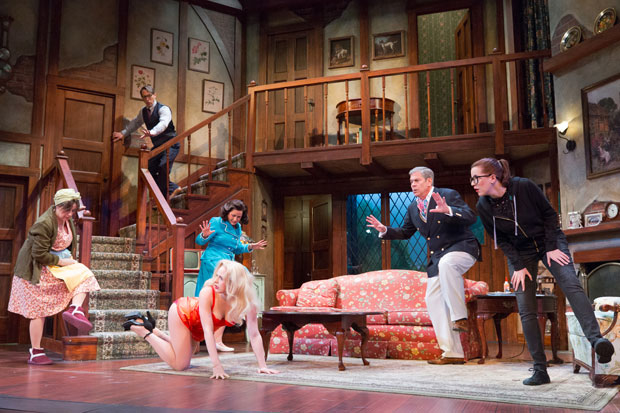 A scene from Noises Off, directed by Frank Anzalone, at the Walnut Street Theatre.