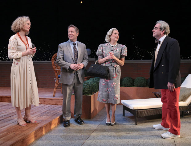 Barbara Garrick, Laurence Lau, Jodie Markell, and Liam Craig in a scene from the Keen Company's production of A.R. Gurney's Later Life.