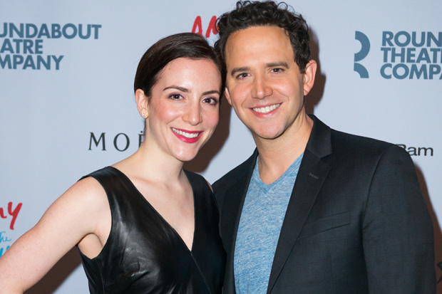 Santino Fontana poses with his wife, Jessica Hershberg.