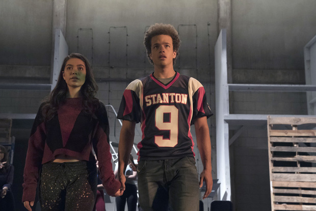 "Auli'i Cravalho and Damon J. Gillespie in the ""Victory Party"" episode of Rise."