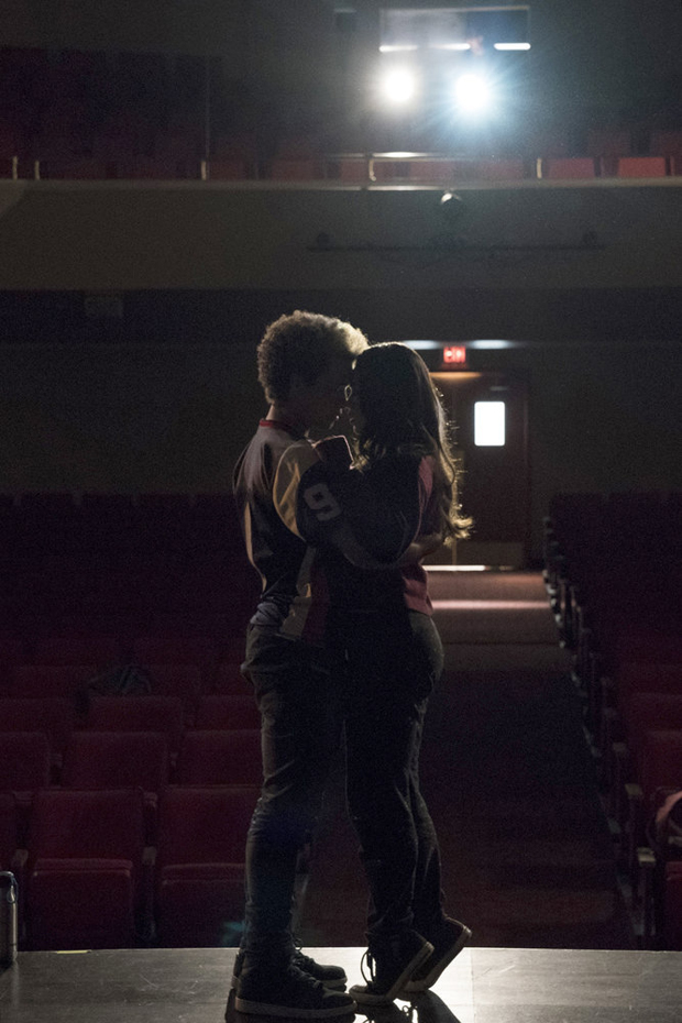 Auli'i Cravalho and Damon J. Gillespie share a tender moment in Rise.