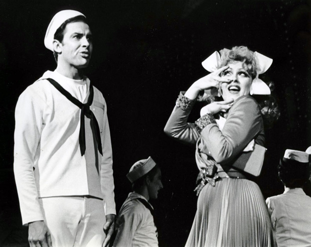 A sailor on shore leave (Ron Husmann, left) looks past the charms a female cabbie (Bernadette Peters) in the 1971 Broadway revival of On the Town.