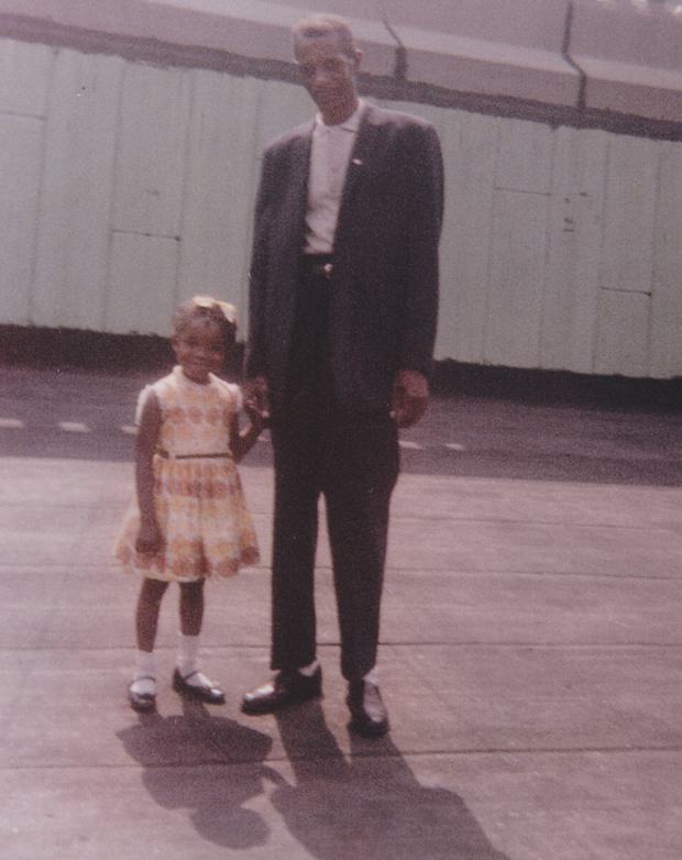 Sharon Washington and her father on the roof of the St. Agnes Library.