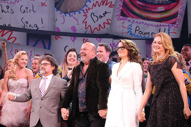 Jeff Richmond, Casey Nicholaw, Tina Fey, and Nell Benjamin take a bow as Mean Girls opens on Broadway.