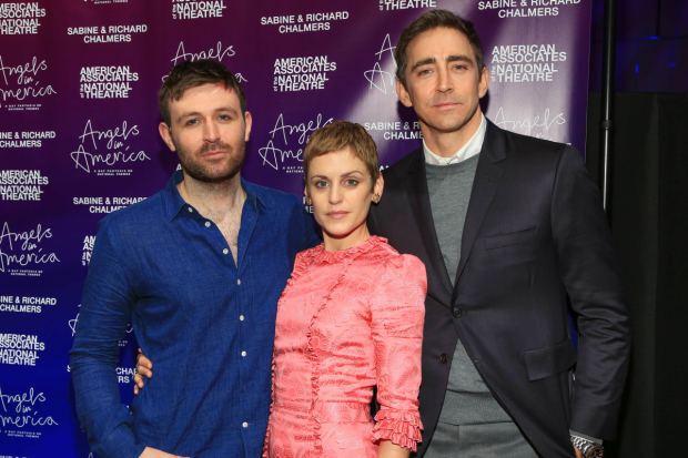 Denise Gough (center) with fellow Angels in America cast members James McArdle and Lee Pace.