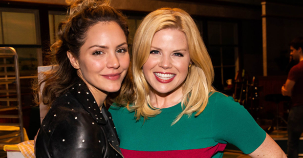 Katharine McPhee, star of Broadway's Waitress, is paid a visit by former Smash costar Megan Hilty.
