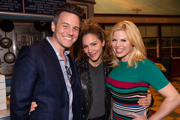 Brian Gallagher, Katharine McPhee, and Megan Hilty get together for a photo after the show.