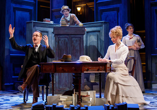 Peter McDonald, Tom Hollander, Scarlett Strallen, and Sara Topham star in Roundabout Theatre Company's Travesties, directed by Patrick Marber, at the American Airlines Theatre.