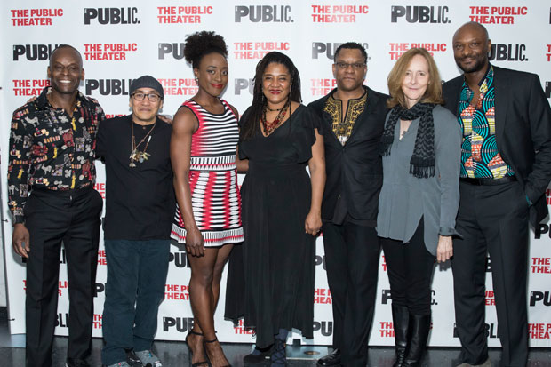 The company of the world premiere production of Mlima's Tale celebrate opening night at the Public Theater.