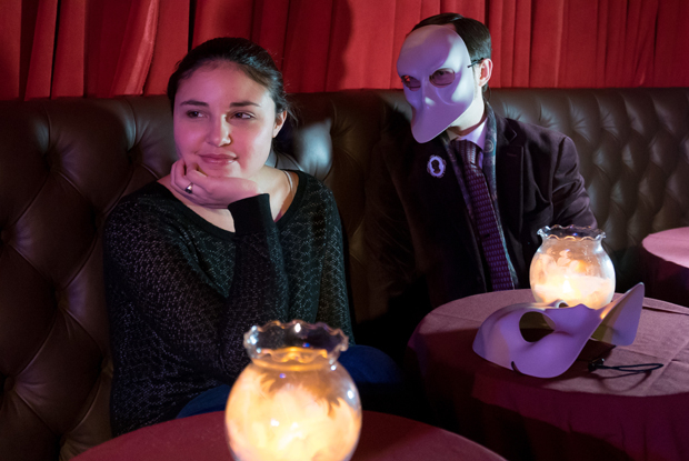 Zach argues to Hayley that the masks are an integral part of the storytelling in Sleep No More.