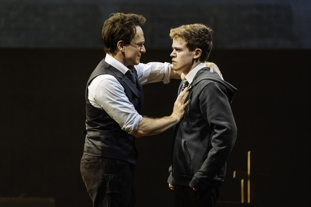 Jamie Parker plays Harry Potter, and Sam Clemmett plays Albus Severus Potter in Harry Potter and the Cursed Child.