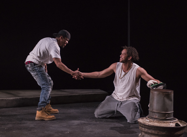Jon Michael Hill (Moses) and Julian  Parker (Kitch) in Steppenwolf's world  premiere production of Pass Over in 2017.