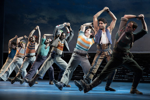 """The """"Blow High, Blow Low"""" dancer number performed in the new Broadway revival of Carousel."""