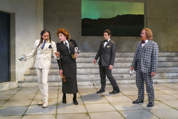 Michael Gotch, Kate Forbes, Mic Matarrese, and Lee E. Ernst wear Candice Donnelly's costumes in Twelfth Night.