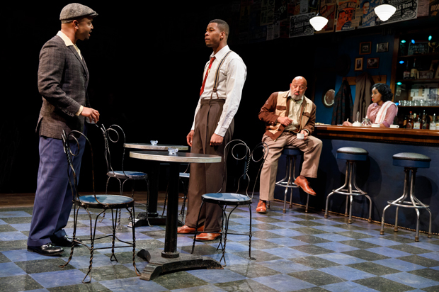 Francois Battiste and J. Alphonse Nicholson get into an argument as Keith Randolph Smith and Kristolyn Lloyd look on in Paradise Blue.